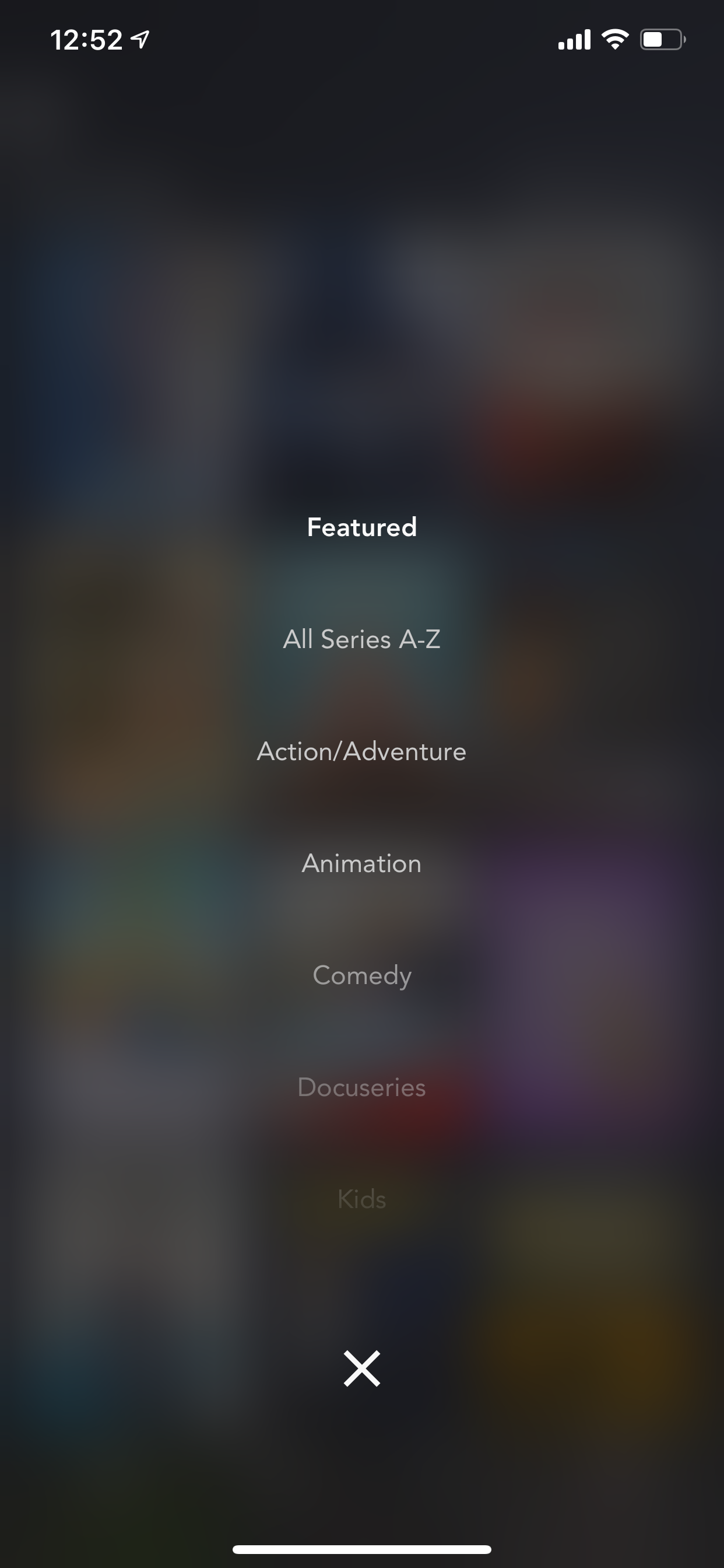Example of App Design for iOS with the following features: list, minimal, filter, icon button, dropdown. App by DisneyPlus (iPhone X)