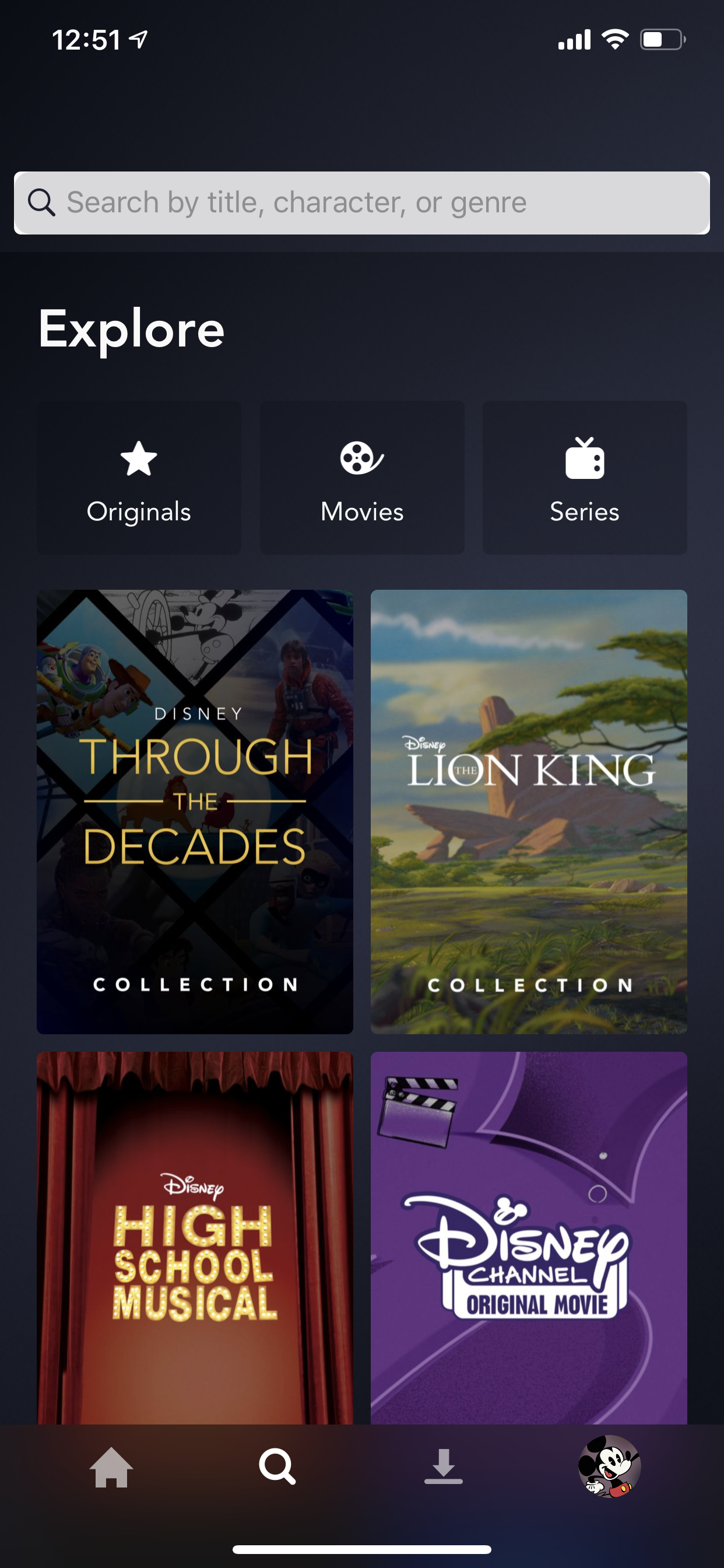 Example of App Design for iOS with the following features: content (image dominant), grid, search, tab bar, text button, icon button. App by DisneyPlus (iPhone X)