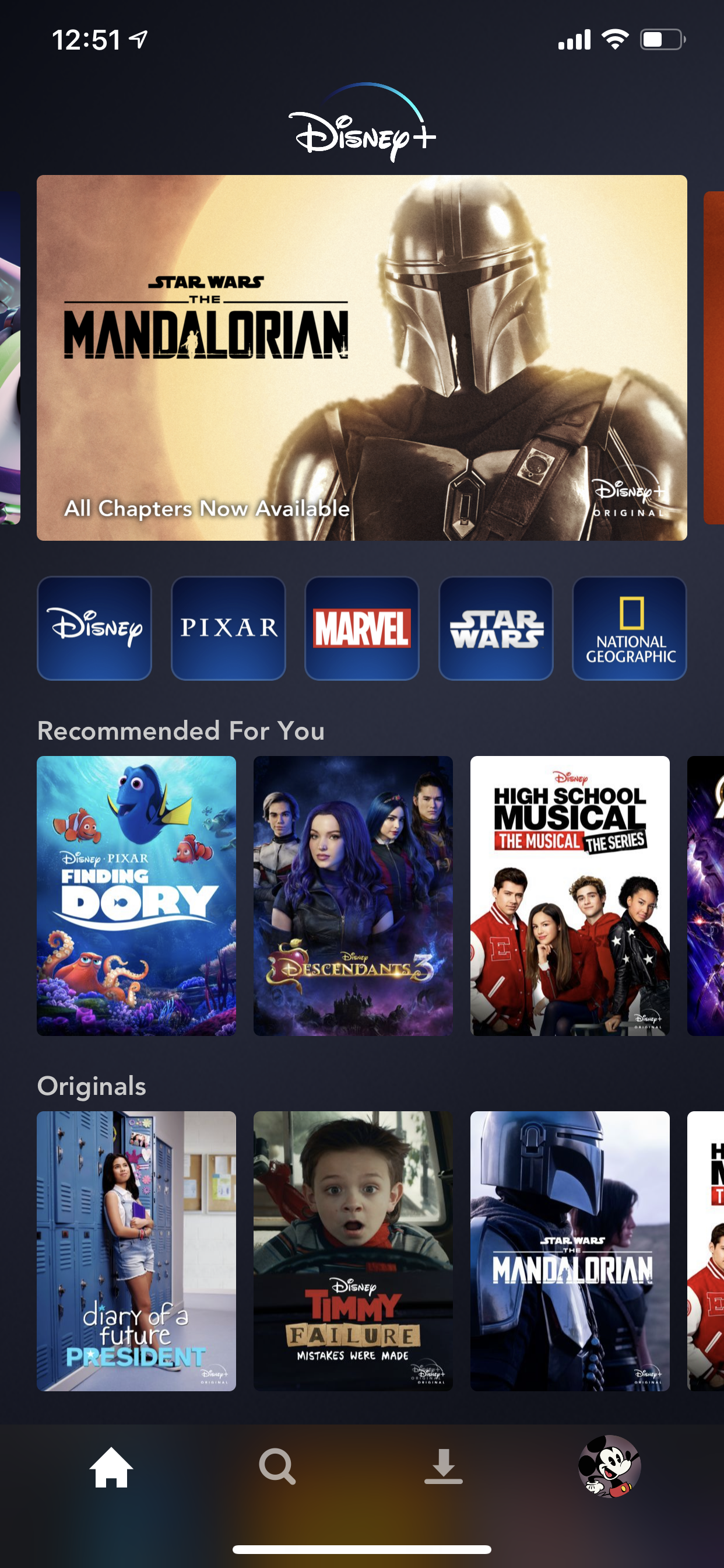 Example of App Design for iOS with the following features: grid, home, tab bar, gallery , card. App by DisneyPlus (iPhone X)