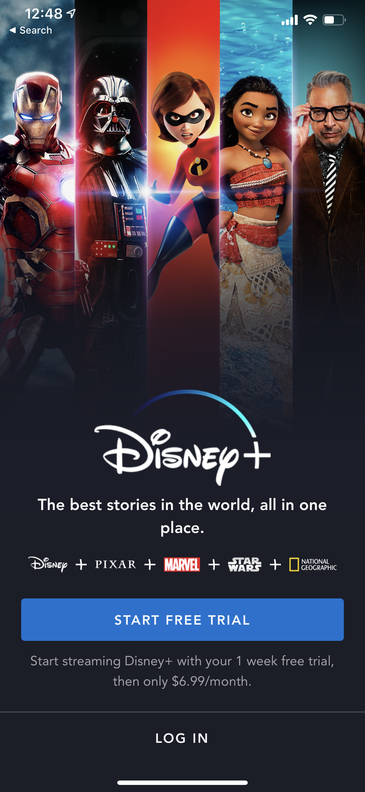 Example of App Design for iOS with the following features: onboarding, signup ~ login, upgrade, text button, background image. App by DisneyPlus (iPhone X)
