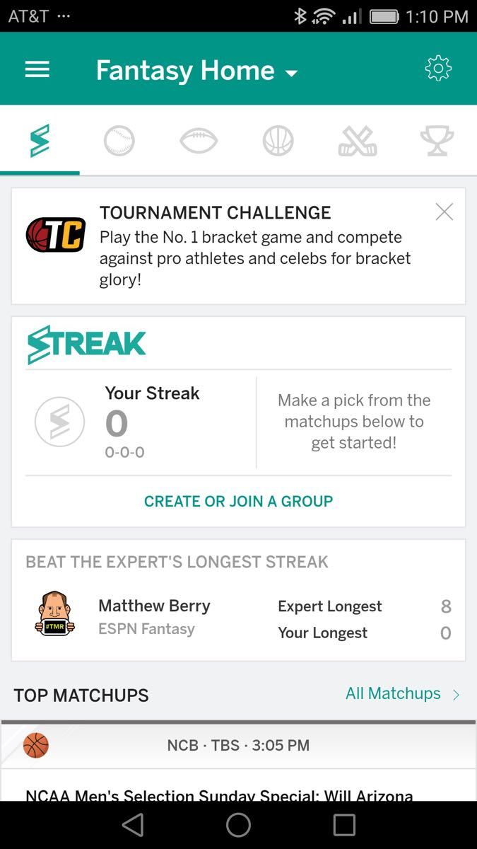 Example of App Design for Android with the following features: list, navigation ~ menu, feed, tab bar, text button, graphic decoration, card, icon button. App by ESPN Fantasy