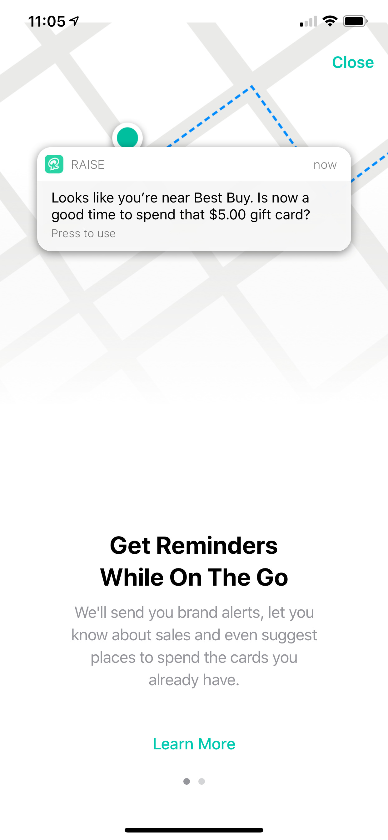 Example of App Design for iOS with the following features: permissions, notifications, text button, paging, background image. App by Raise (iPhone X)