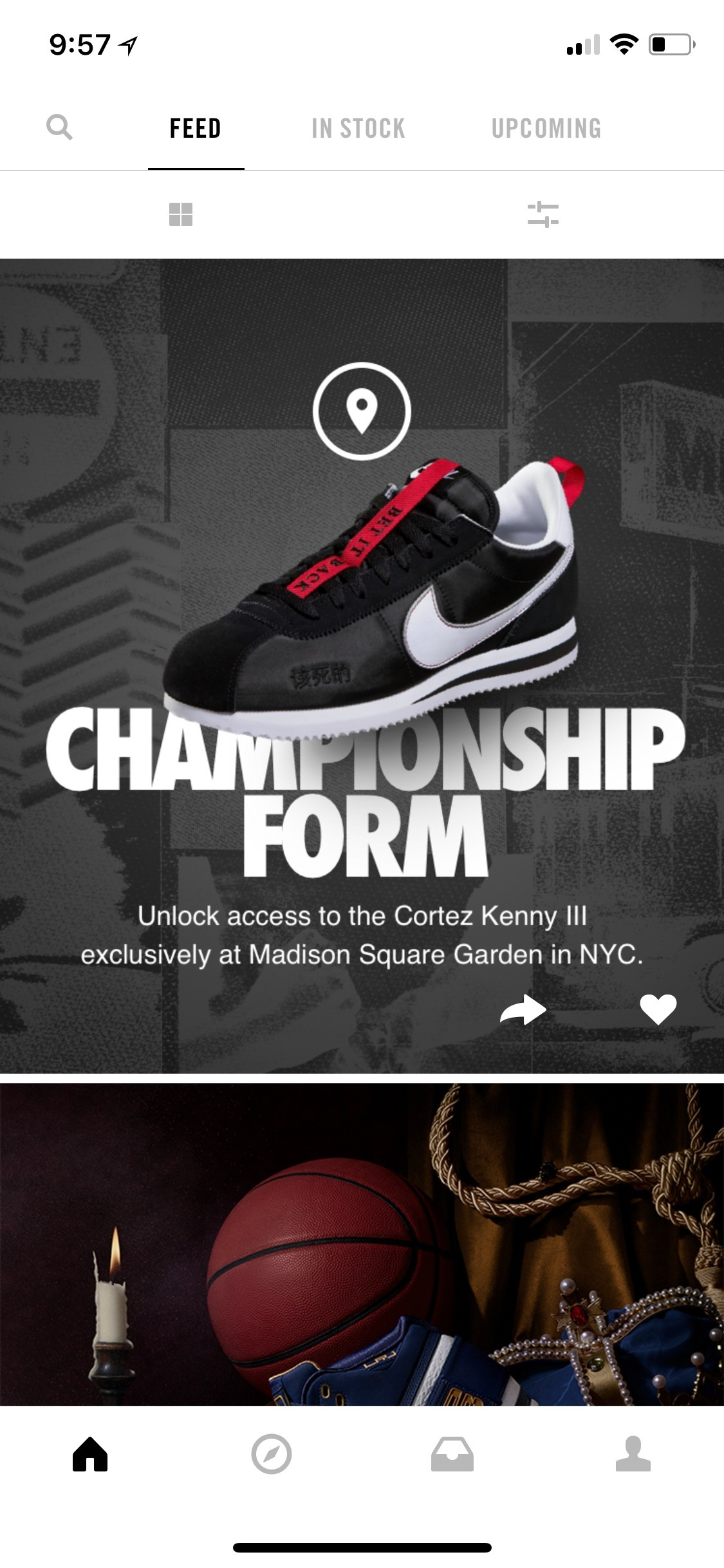 Example of App Design for iOS with the following features: content (image dominant), navigation ~ menu, feed, tab bar, segmented control, icon button. App by SNKRS (iPhone X)