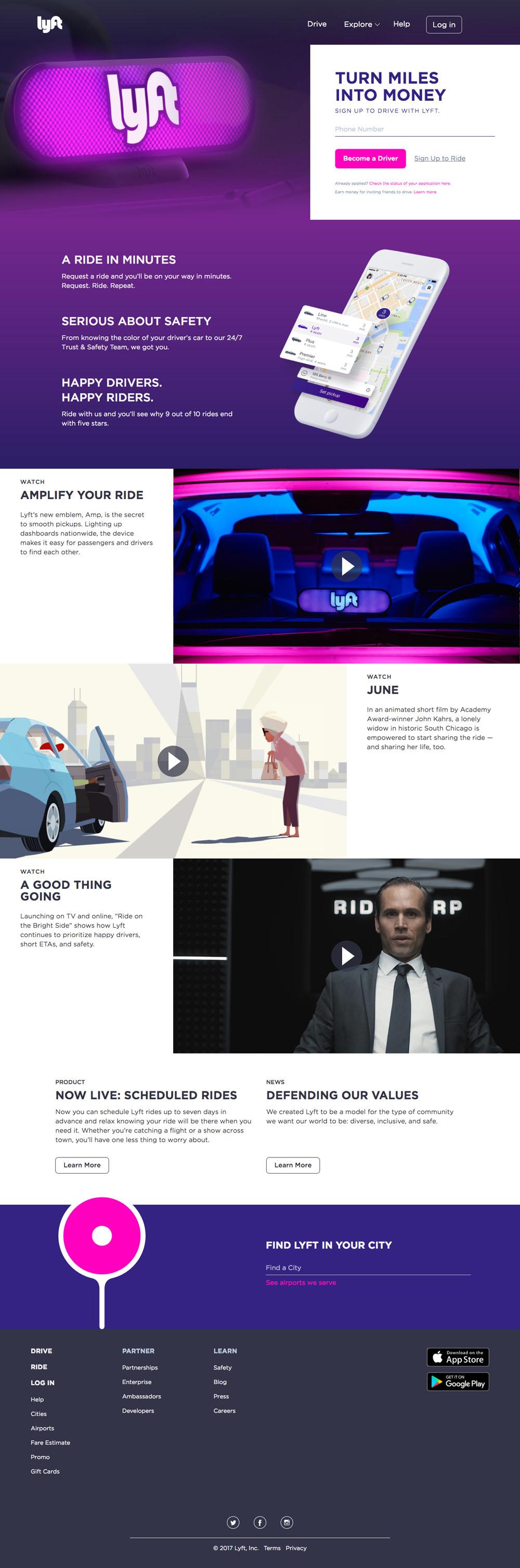 Lyft Website Design