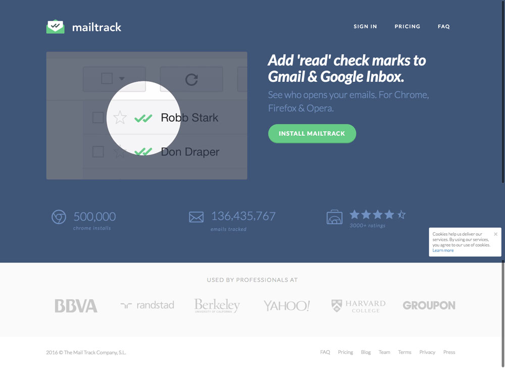MailTrack Website Design