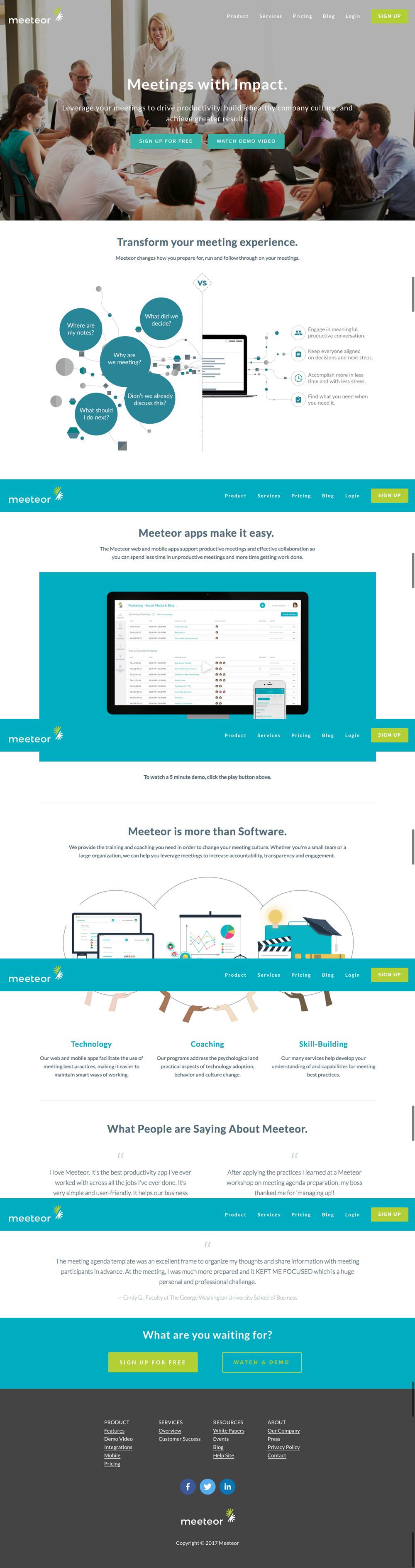 Meeteor Website Design