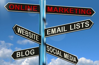 online marketing sign post with email lists, blogging, and social media