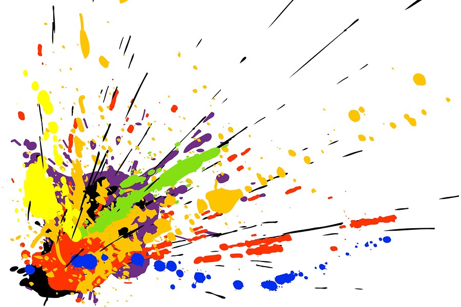 Colorful vector design of paint spill grunge