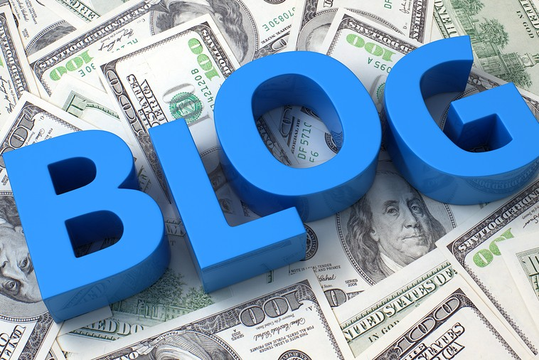 Word Blog on the background of one hundred dollar bills