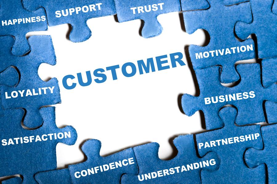 Customer blue puzzle pieces assembled