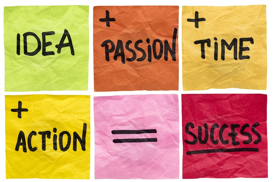 success formula with idea, passion, time and action ingredients - a set of isolated crumpled sticky notes