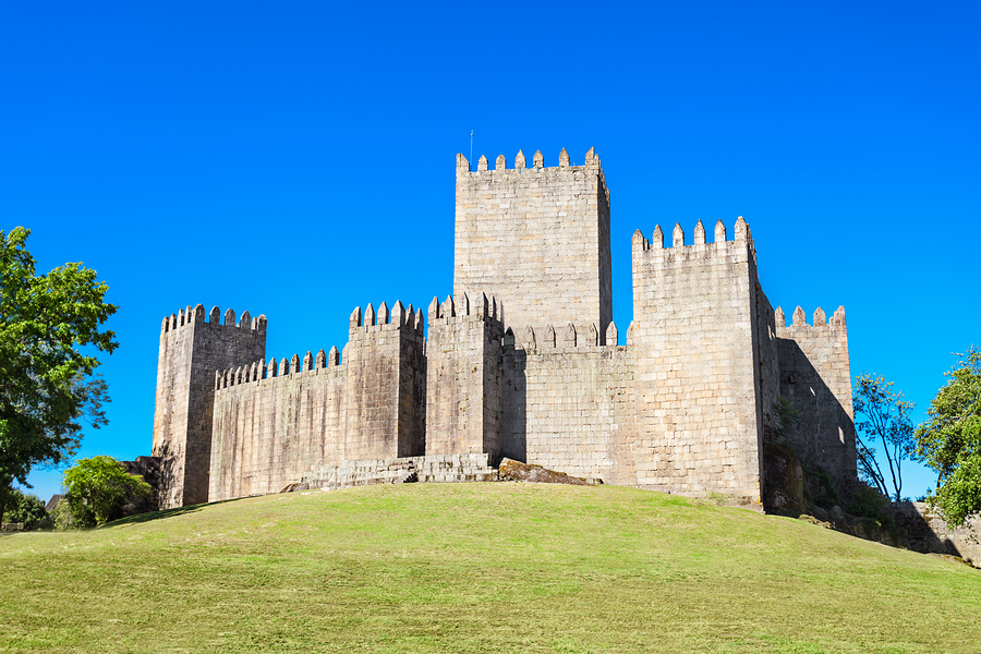 The Castle of Guimaraes is the principal medieval castle in the municipality Guimaraes Portugal