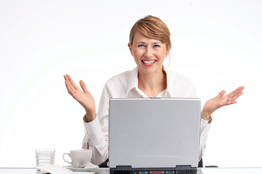 happy businesswoman who has just found the solution of the problem