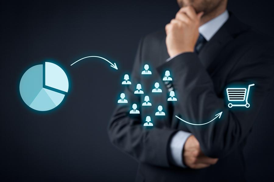 Marketing strategy - segmentation targeting and positioning. Visualization of marketing strategy process.