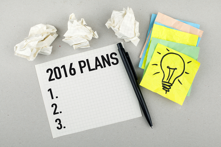 Plans, goals, ideas and resolutions for new year 2016 concept list