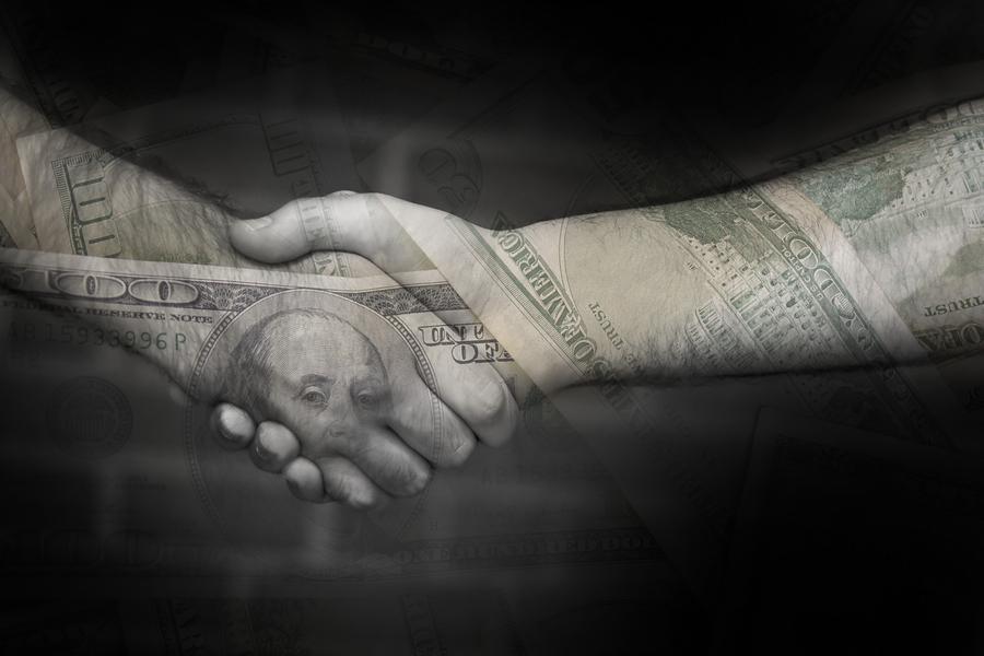 A handshake over money - collecting debts
