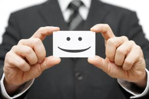 Business card with a smiley face
