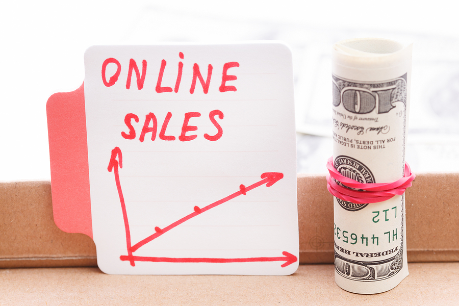 Text  On Line Sales. With Graphs. Business Concept.