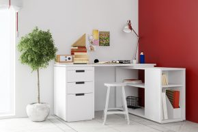 Small desk in living room for home office on a wall (3D Renderin