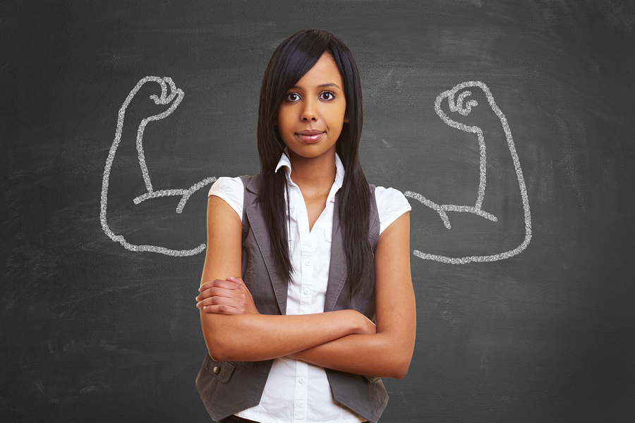 Strong and powerful woman with self confidence and chalk muscles