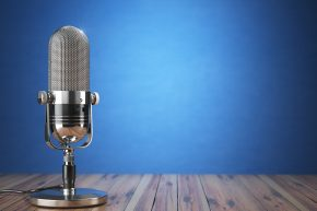 audio microphone on a blue background