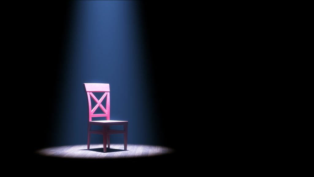 3d illustration of a single empty red chair under a spotlight in