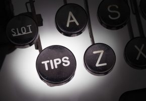Old typewriter with Tips from A to Z