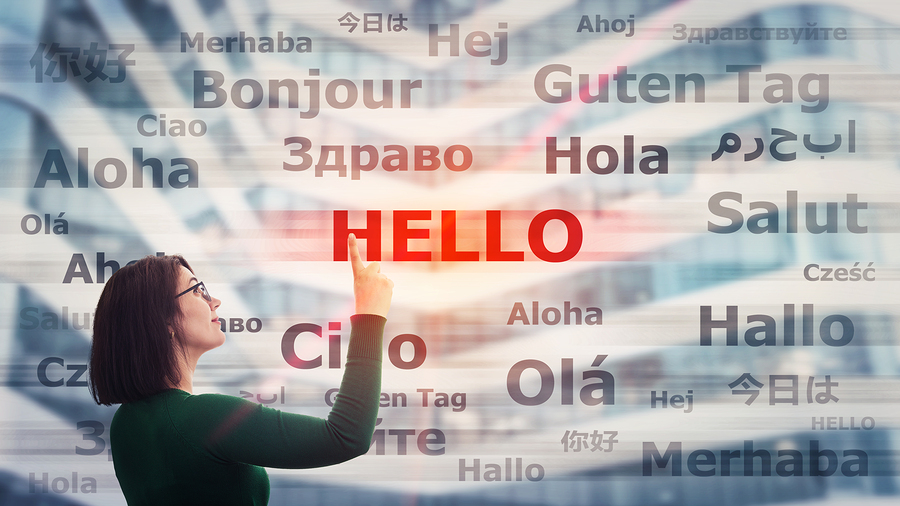 Hello in many languages - translation concept