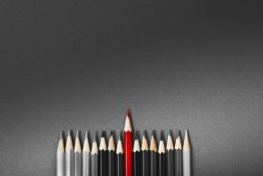 Group of pencils with one red one standing out.
