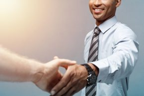 conversation with a client - handshake
