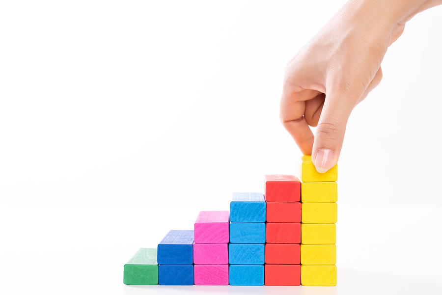 Colorful building blocks - fundamental skills concept
