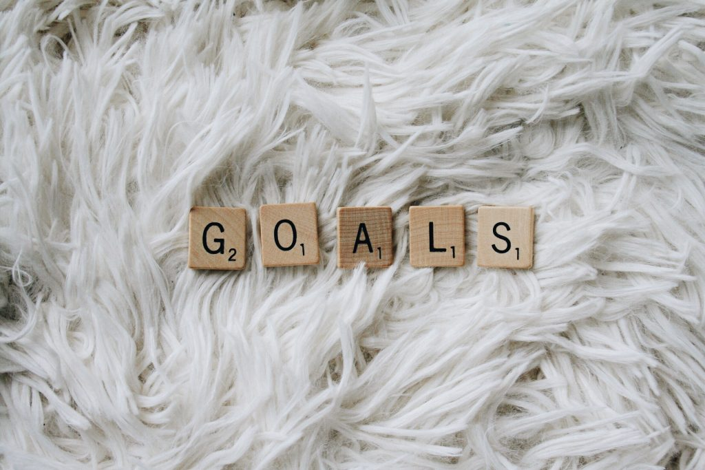 Goals spelled out in Scrabble tiles
