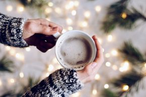 Holiday season activities - enjoying a mug of hot chocolate