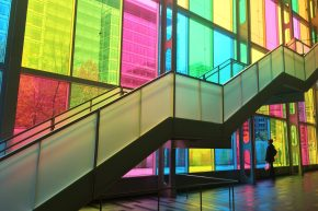 Climbing a colorful staircase