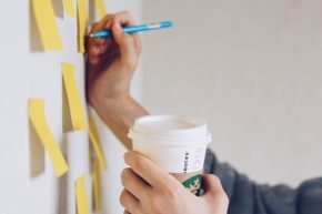 Writing ideas on post-it notes
