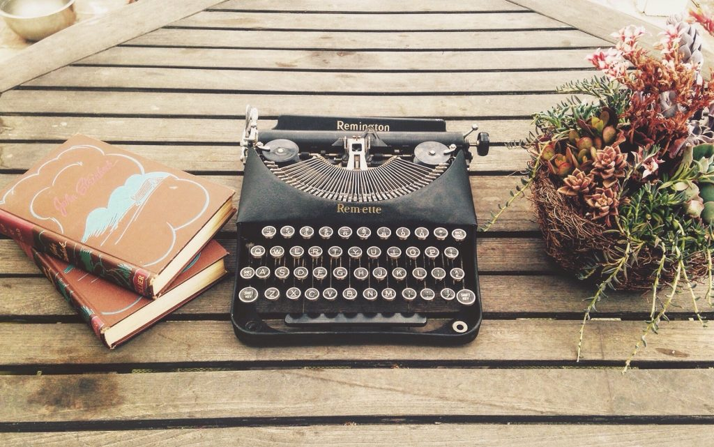 Old fashioned typewriting - writing inspiration concept