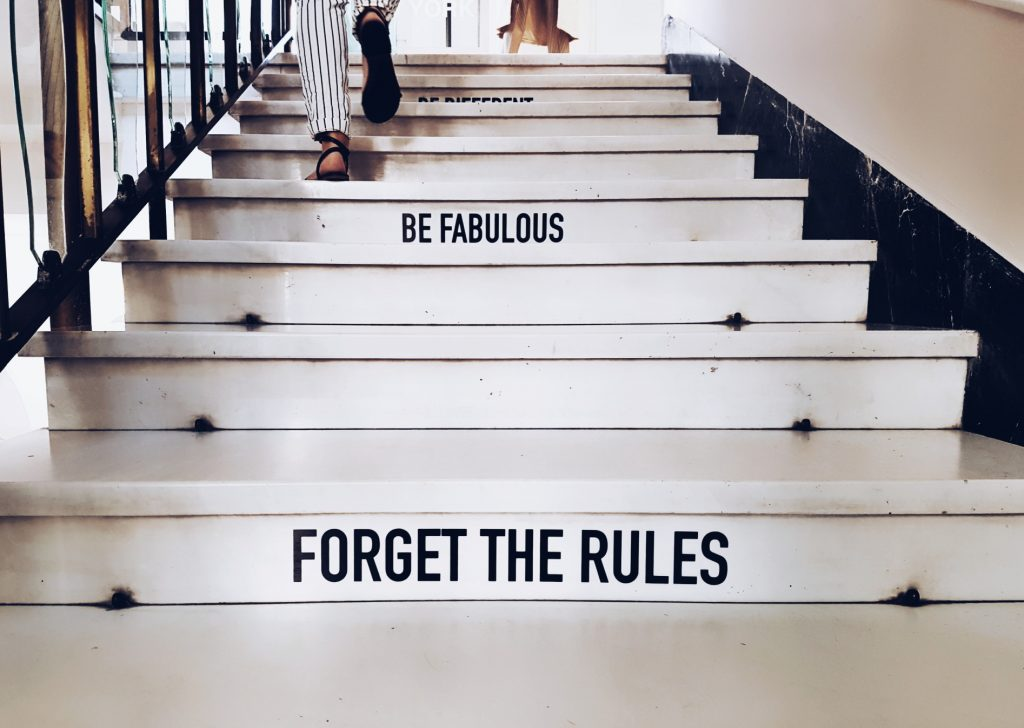 "Staircase with lettering ""Be fabulous"""