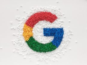 Google logo made from beads