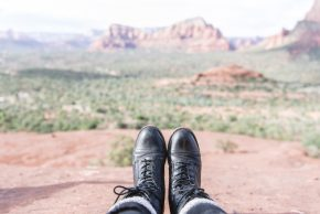 Hiking boots and a desert background