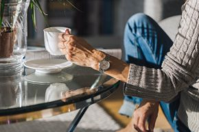 Writer on top of schedule, enjoying coffee