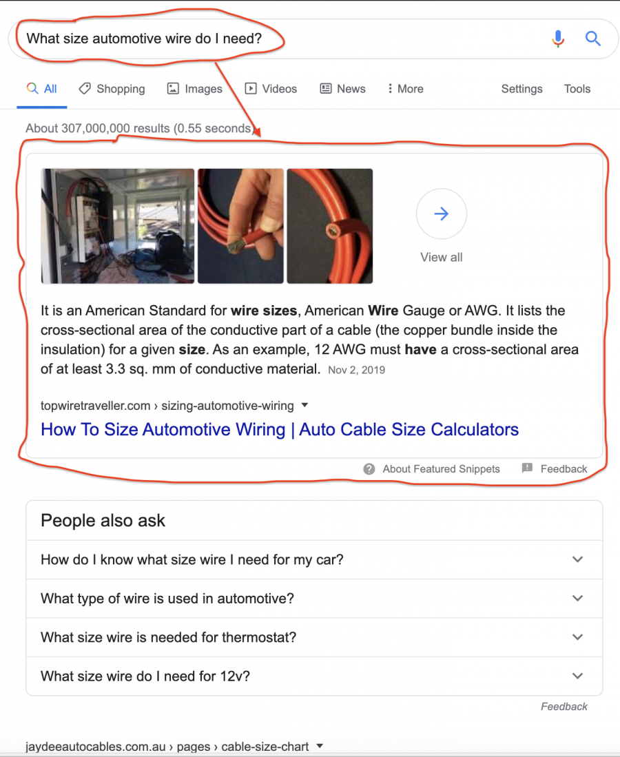 Auto Wiring Article Achieves Featured Snippet