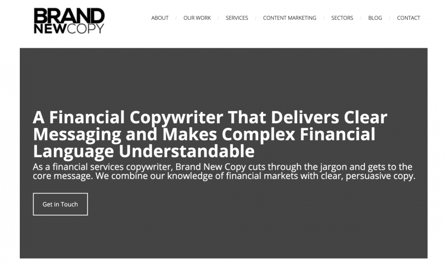 Financial Copywriter Niched Website Example