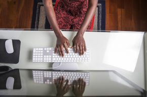 A woman at her computer
