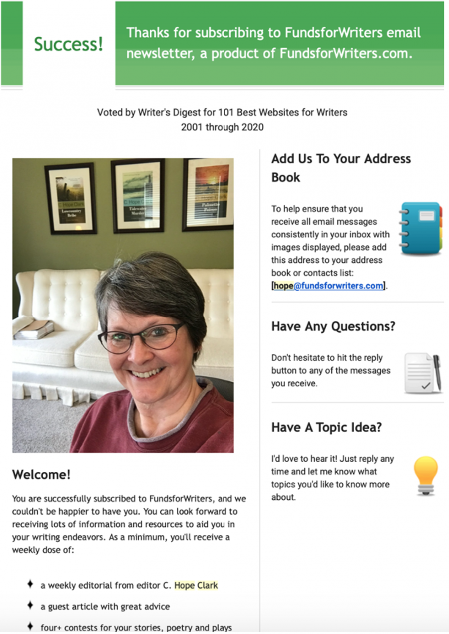 Funds for Writers Newsletter Sample