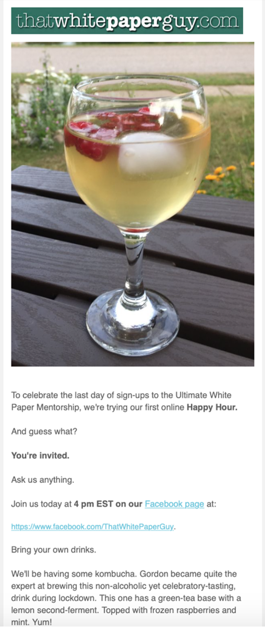 White Paper Guy Happy Hour Message
