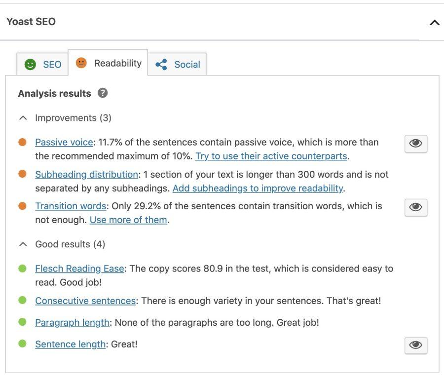 SEO yoast readability overview sample