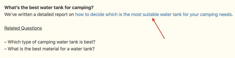 An example of using questions as part of your linking strategy