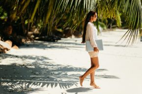 Writer on the beach, enjoying summer