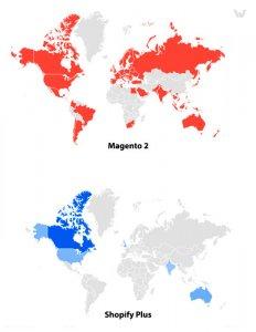 Shopify plus vs Magento 2 Countries