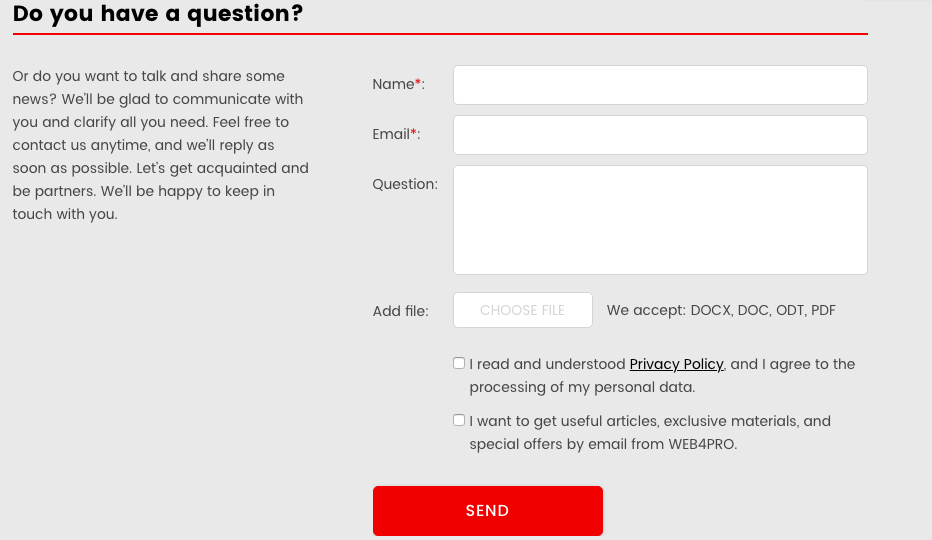 WEB4PRO Contact Form with a Checkbox